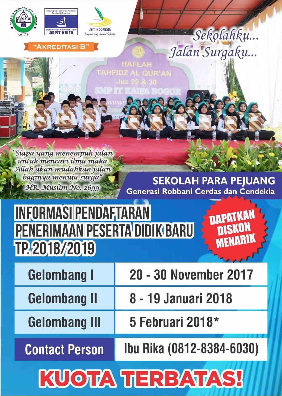 Brosur Penerimaan Peserta Didik Baru Sdit Dan Smpit Kaifa 2018 2019 Sekolah Islam Terpadu Kaifa