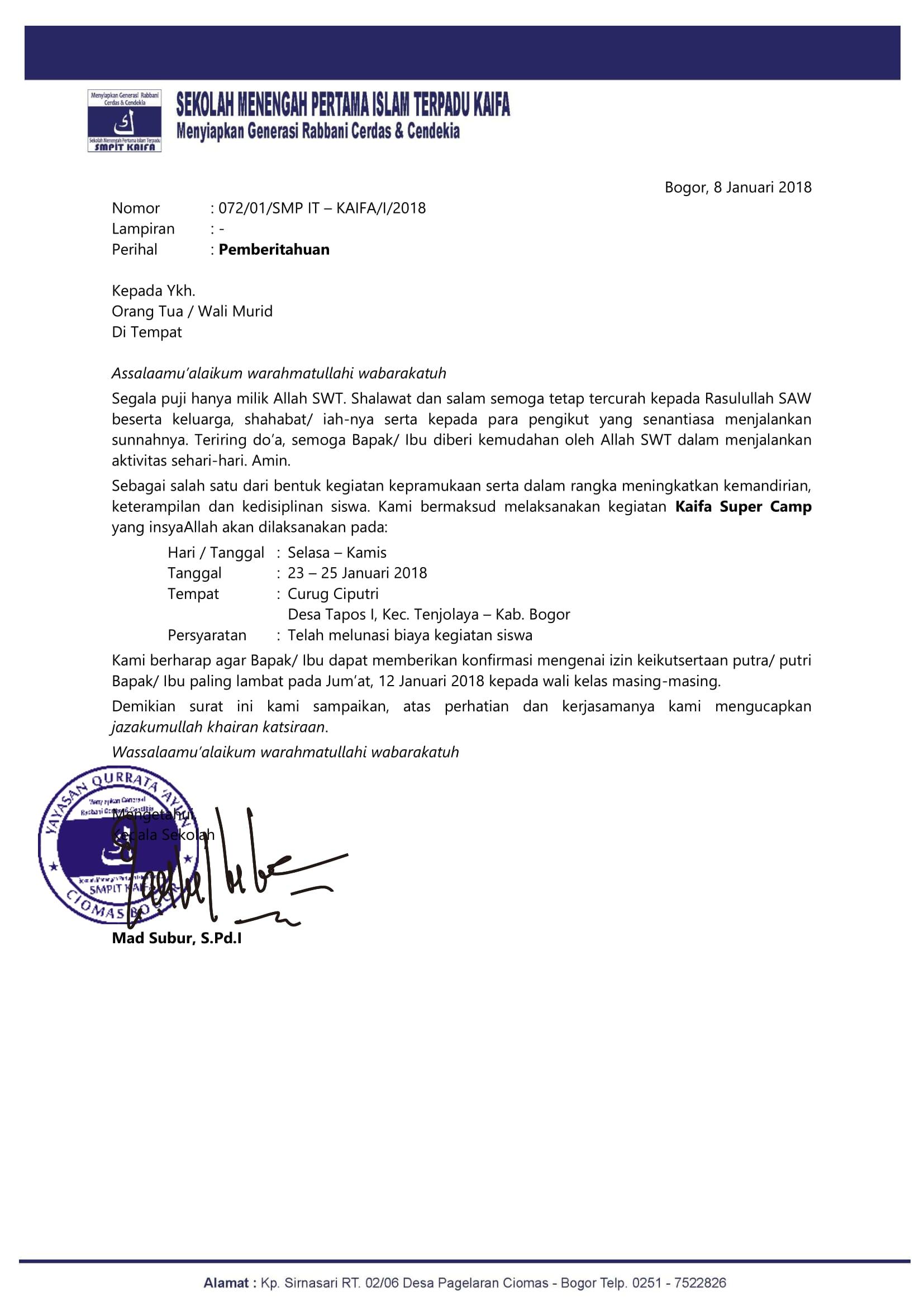 Surat Pemberitahuan Kegiatan Super Camp Sekolah Islam