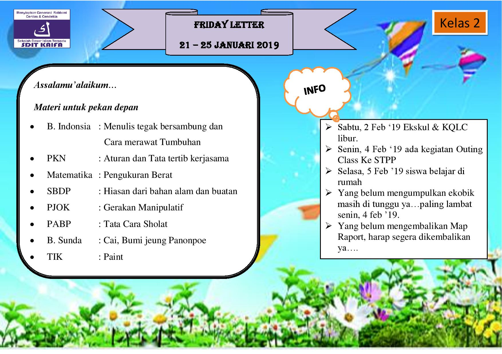 Friday Letter untuk SDIT KAIFA periode 04 08 Februari 2019